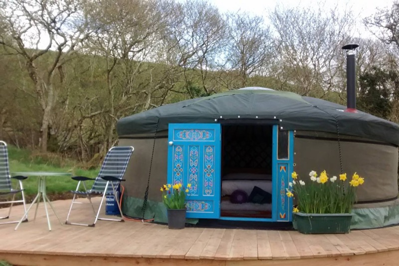 Yurt with blue painted doors - 10 Unique Airbnbs in North Wales