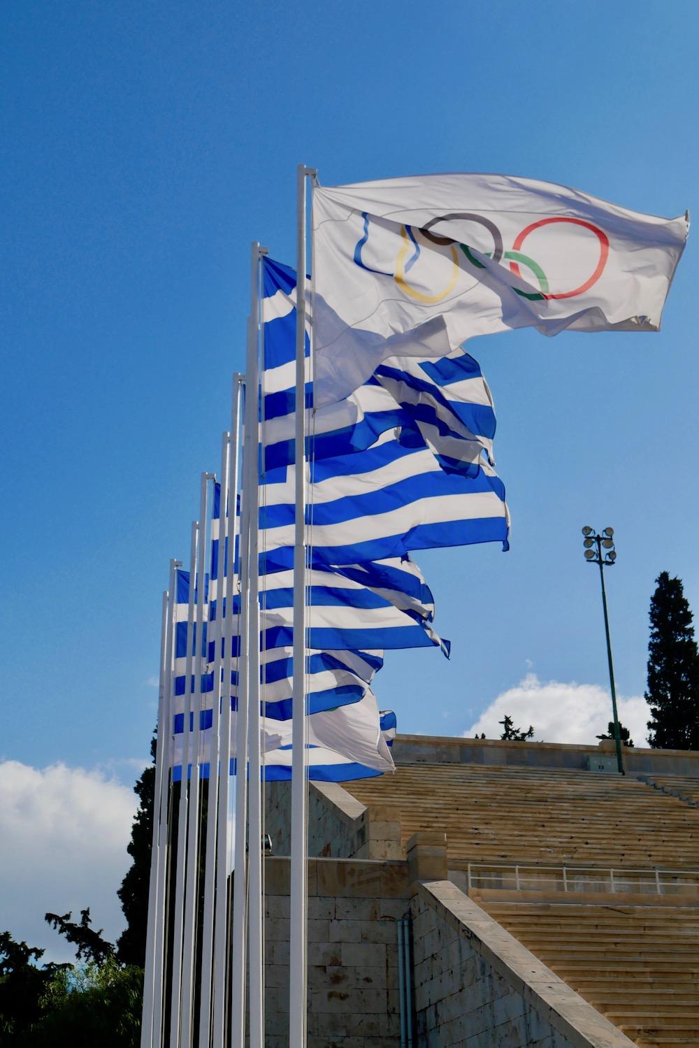 Greek flags at the Panathenaic Stadium